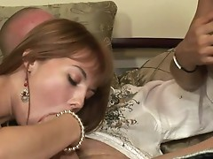 Cute redhead Babe learns how to suck Jock with her Mother!