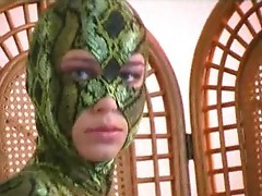 Blonde dame in reptile suit