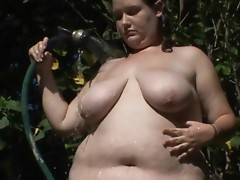 Bbw playing with massive cock