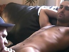 Brother rubs his cock on my face