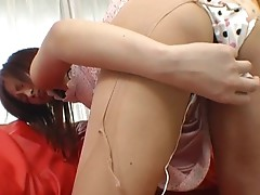 Girl gets face covered by cum shot