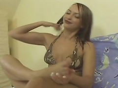 Hot lesbians getting fucked with dildo