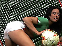 Busty glamourous soccer babe