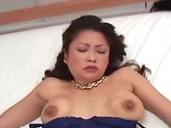 Busty japanese angel in underware engulfing