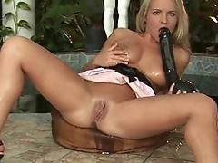 Sexy golden-haired lustful Babe working on a huge