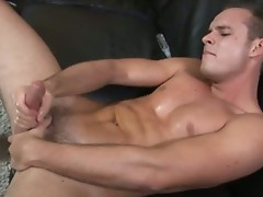 Guy fingering ass and wanking his penis
