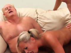 Bree Olson helping the old folks