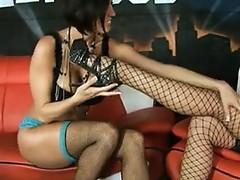 Lesbian enjoying her body