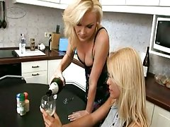 Blonde milfs lick holes in the kitchen