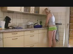 blond creampie while washing dishes