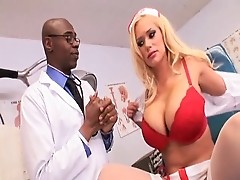 Black doctor examines great tits of blond Wowza