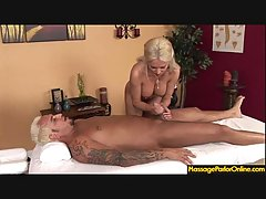 Massage parlor visit turns into a hot handjob