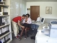 Courier pleases aged boss by young strong dong
