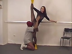 Sexy Gymnast in Pantyhose and yellow socks