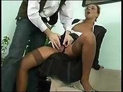 Lady boss handled young cock to give her anal fuck