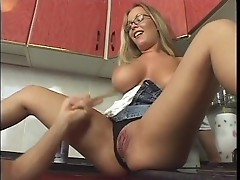 Dick served with cream at kitchen for a busty slut