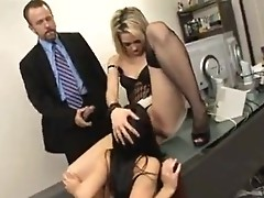 Orgy in boss study: two secretaries suck cock