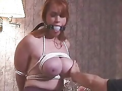 Busty amateur slave gets tits slapped, tortured and waxed