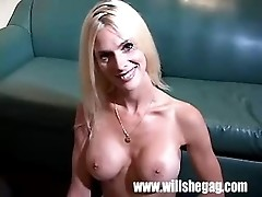 Blonde babe performs lovely deep throat