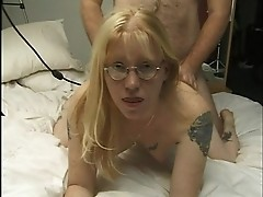 Blonde chick in specs has a wild side