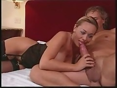 Antonella Del Lago giving head, then pretty italian blowjob has steamy anal sex on the bed