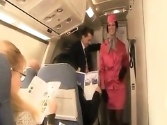 Blonde in uniform gets ass-fucked on the plane