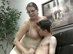 Busty girl jerks skinny guy