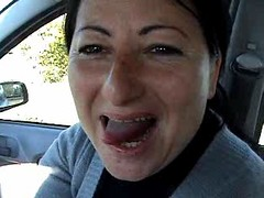 real amateur blowjob in the car