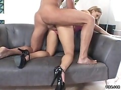 Sexy blonde has pussy tighter than keyhole