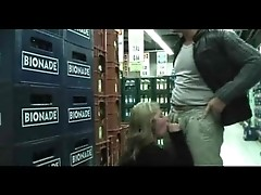 Nasty amateur blondie having wild sex in public place