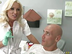 Horny doctor works with patient