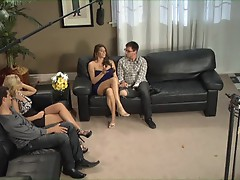 Nicole Aniston and Madelyn Marie drain a guy of his nut juice and snowball it