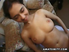 Amateur girlfriend sucks and fucks many cocks