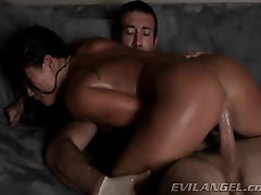 Horny London Keys rides her hot pussy on this hard dick