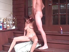 Vivacious babe gets saturated with warm cock juice