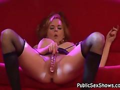 Big tit redhead pleasuring herself