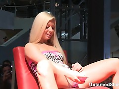 Lovely blonde enjoys playing with a dildo