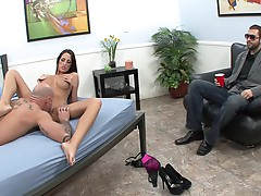 Kortney Kane is watched by her man as she gets fucked