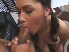 huge babe Kandi Milan gives a hard sucking to her boy friend dick