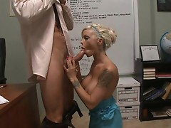 Hot blonde bitch Delta White takes a deep office pussy pounding