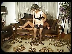 Granny In Black Stockings on the Table for the Boy