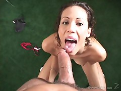 Layla Rivera gets her face drizzled with warm jizz