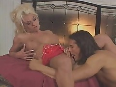 Platinum blonde babe is ass fucked by a horny dick