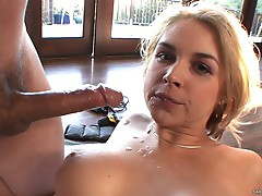 Sarah Vandella gets her face plastered with warm cum