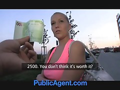 PublicAgent Russian blonde gets fucked in the bushes