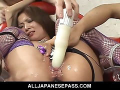 Two guys use Naami body as their personal fuck toy