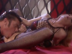 Janet Mason goes all out in her stockings to ride this big happy dick