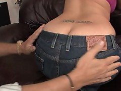 Delilah Strong feels the girth of this dick as it slides in between her cheeks