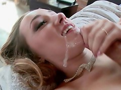 Victoria Rae gets a full on facial from this horny man who unloads hard