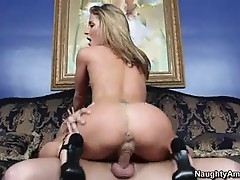 Sheena Shaw rides her wet pussy on this stiff dick